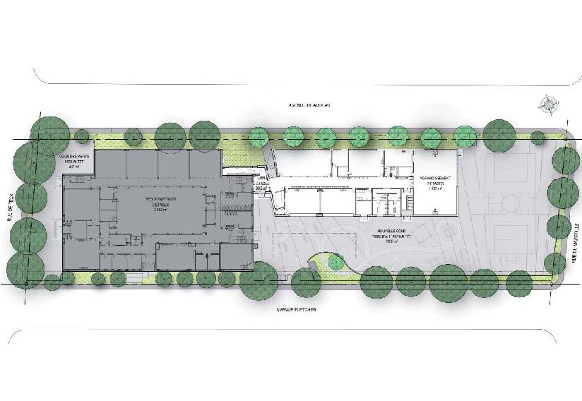 Plan du bâtiment existant et du projet d'agrandissement